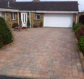 Driveway with Lovely Large Red Brick Coloured Stone Sets