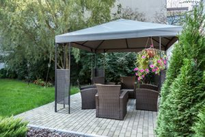 block paving upgrade with gazebo