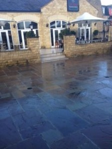 MD Paving creating new patio at Sant Angelos Wetherby