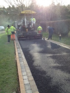 Tarmac roller machine being used by the MD Paving team.