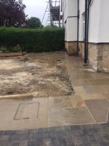 Block paving pathway around the house