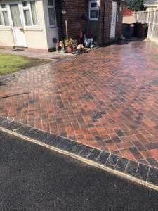 Brindle driveway with charcoal border in Boston Spa