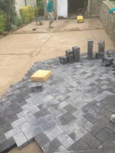 Block paving piles ready to lay