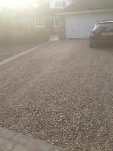 Resin stone pebble driveway