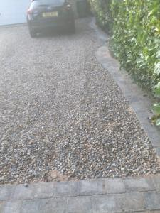 Pebble pathway and curb